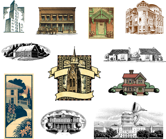 Architectural illustrations in pen and ink