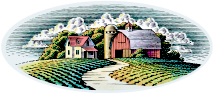 Scenes & Backgrounds; Rural farm scene illustration, traditional woodcut style pen and ink
