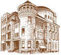 Architectural; Woodcut style pen and ink illustration of a classic building